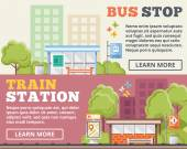 Bus stop, train station flat illustration concepts set — Stock Vector