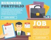 Business portfolio, job interview flat illustration concepts set — Stock Vector