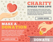 Charity, donation flat illustration concepts set — Stock Vector