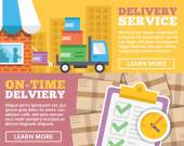 Delivery service, on-time delivery flat illustration concepts set — Stock Vector