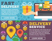 Fast delivery, delivery service flat illustration concepts set — Stock Vector