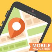 Mobile navigation concept. Flat design — Stock Vector