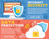 Internet security, data protection flat illustration concepts set — Stock Vector