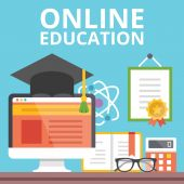 Online education concept. Flat design — Stock Vector