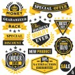 Black and yellow stickers, badges, labels and ribbons. Set 4 — Stock Vector #76609845