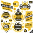 Black and yellow stickers, badges, labels and ribbons. Set 2 — Stock Vector #76609863