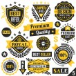 Black and yellow stickers, badges, labels and ribbons. Set 5 — Stock Vector #76609865