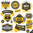 Black and yellow stickers, badges, labels and ribbons. Set 7 — Stock Vector #76609981