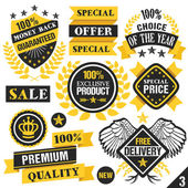 Black and yellow stickers, badges, labels and ribbons. Set 3 — Stock Vector