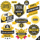 Black and yellow stickers, badges, labels and ribbons. Set 1 — Vector de stock