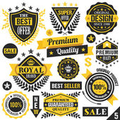 Black and yellow stickers, badges, labels and ribbons. Set 5 — Stock Vector