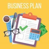 Business plan flat illustration — Stock Vector