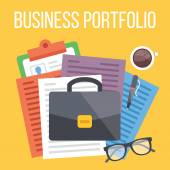 Business portfolio flat illustration — Stock Vector