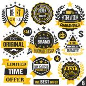Black and yellow stickers, badges, labels and ribbons. Set 6 — Stock Vector