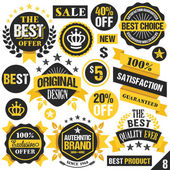 Black and yellow stickers, badges, labels and ribbons. Set 8 — Stock Vector