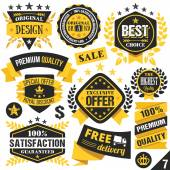 Black and yellow stickers, badges, labels and ribbons. Set 7 — Stock Vector