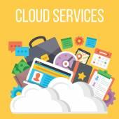 Cloud services flat illustration — Stock Vector
