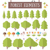 Flat forest elements set — Stock Vector