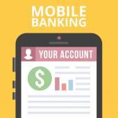 Mobile banking flat illustration — Stock Vector