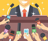 Press conference event flat illustration — Stock Vector