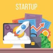 Startup flat illustration — Stock Vector