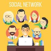 Social network communication flat illustration — Stock Vector