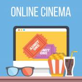 Online cinema, internet streaming flat illustration — Stock Vector