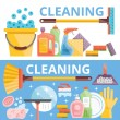 Cleaning flat illustration concepts set — Stock Vector #77795788