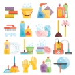 Household supplies and cleaning flat icons set — Stock Vector #77795792