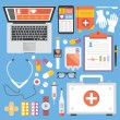 Постер, плакат: Healthcare and medicine flat illustration concepts and flat icons set