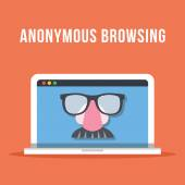 Anonymous browsing flat illustration concept — Stock Vector