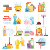Household supplies and cleaning flat icons set — Stock Vector