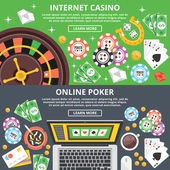 Internet casino, online poker flat illustration concepts set — Stock Vector