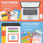Programming, app development flat illustration concepts set — Stock Vector