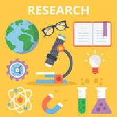 Scientific research flat illustration concepts and flat icons set — Stock Vector