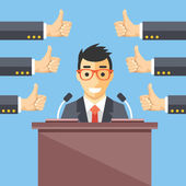 Speaker and thumbs up. Great speech, excellent speaker, productive ideas flat illustration concept — Stock Vector