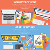 Web development, graphic design flat illustration concepts set — Stock Vector