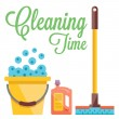 Cleaning time concept. Flat illustration — Stock Vector #78429066
