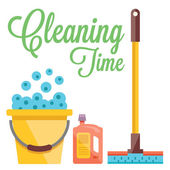 Cleaning time concept. Flat illustration — Stock Vector