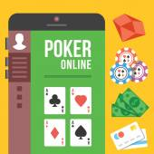 Online poker. Poker room on smartphone screen with diamonds, chips, cash and credit cards — Stock Vector