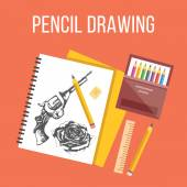 Pencil drawing flat illustration. Flat design concepts for web banners, web sites. — Stock Vector