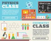 Physics class and chemistry class concepts. Top view. Trendy flat design banner illustrations — Stock Vector