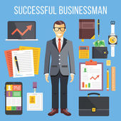 Successful businessman and business stuff flat illustration and flat icons set — Stock Vector
