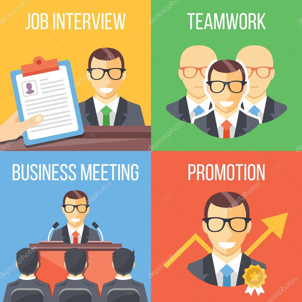 job interview teamwork business meeting promotion concepts set job interview teamwork business meeting promotion concepts set of four trendy flat