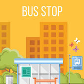Bus stop. Flat vector illustration — Stock Vector