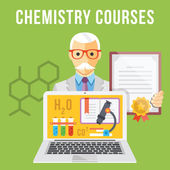 Chemistry courses flat illustration concept — Stock Vector