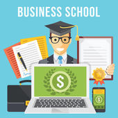 Business school flat illustration concept — Stock Vector