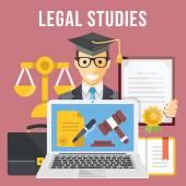 Legal studies flat illustration concept — Stock Vector