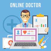 Online doctor flat illustration concept — Stock Vector