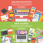 Online education, web courses flat illustration concepts set — Stock Vector